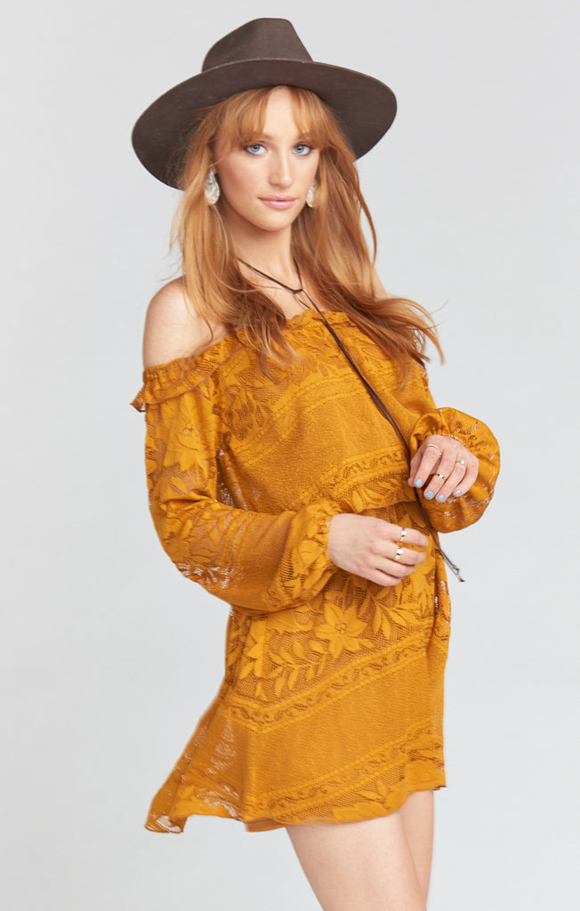 Bess Dress - Moonlight Roses Lace Marigold Dress Show Me Your Mumu - Bows and Arrows FSU Seminoles and UF Gators Women's Game Day Dresses and Apparel