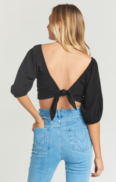 Cristina Crop Top Black Linen