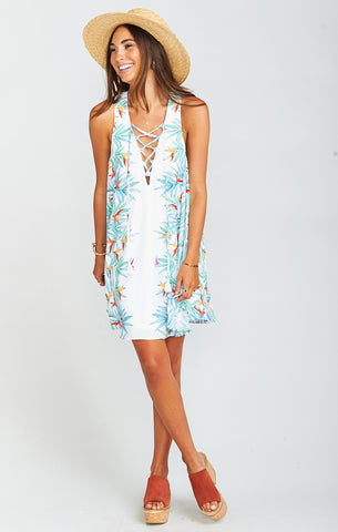 Daryn Palm Party Lace-Up Dress