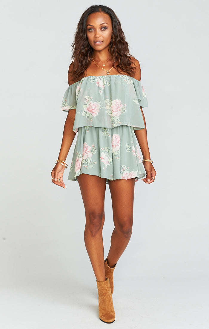 Dixie Sweetheart Sage Romper