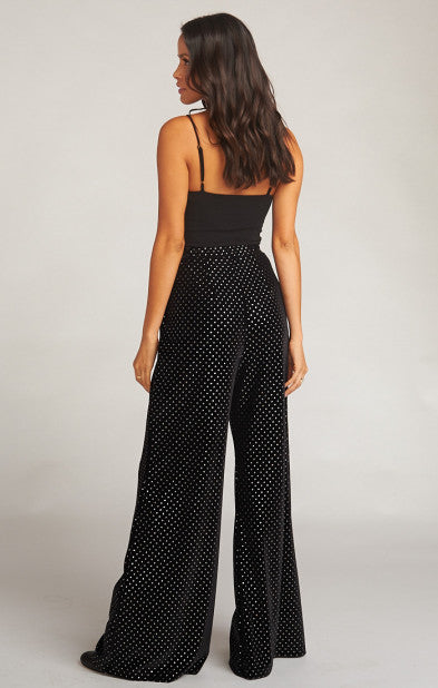 Elis Trousers - Stud Velvet Black