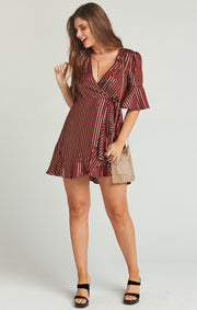 Leslie Mini Wrap Dress - Last Night Stripe Yarn Dye (1494118334512)