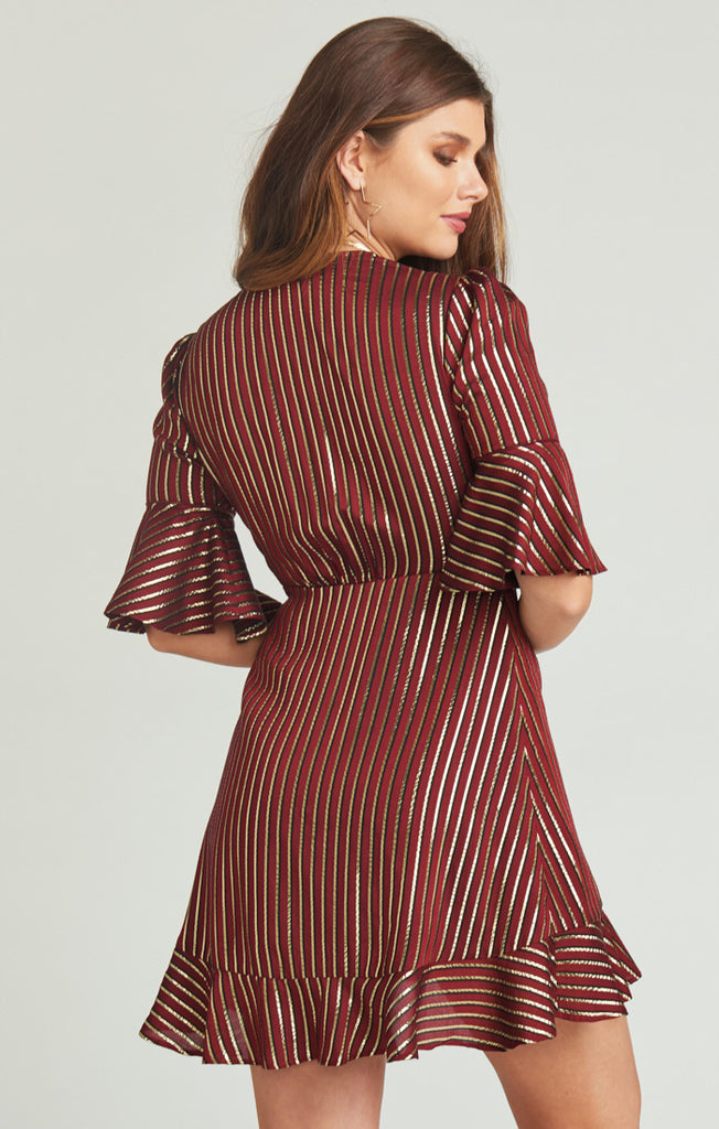 Leslie Mini Wrap Dress - Last Night Stripe Yarn Dye