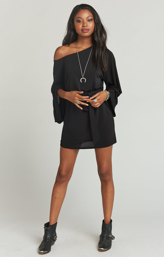 Monica Dress - Textured Spandy Black