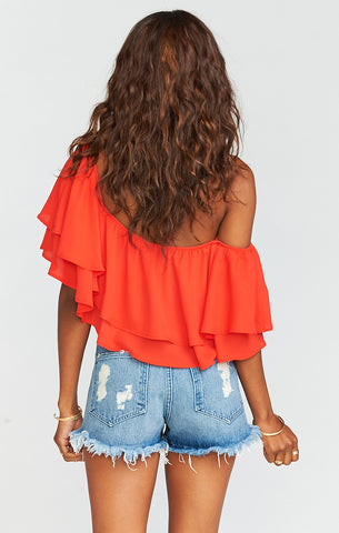 Hayworth Tequila Sunrise Crisp Ruffle Top