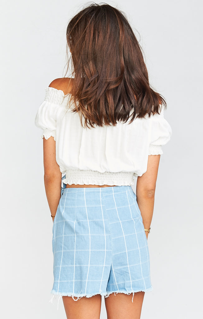 The Great Checkmate Chambray Wrap Shorts