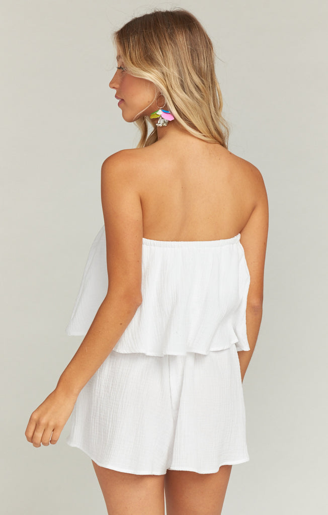 The Thelma Romper White Crinkle Gauze