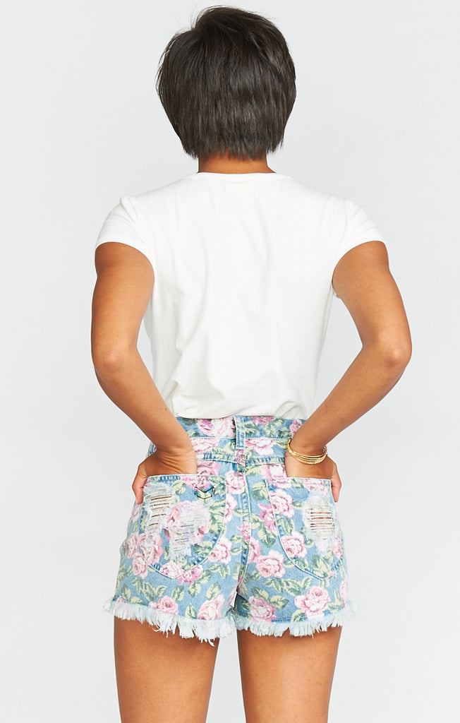 Toledo Bella Rose Denim Tear Drop Shorts