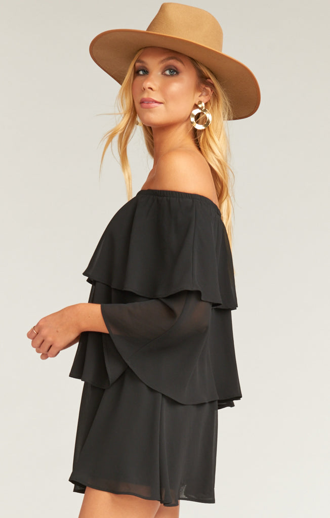 Triple Decker Romper Black