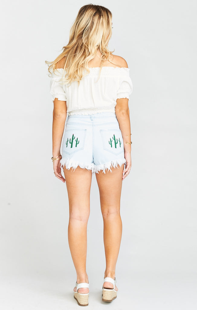 Wyoming Whitewater Cactus High Waisted Shorts