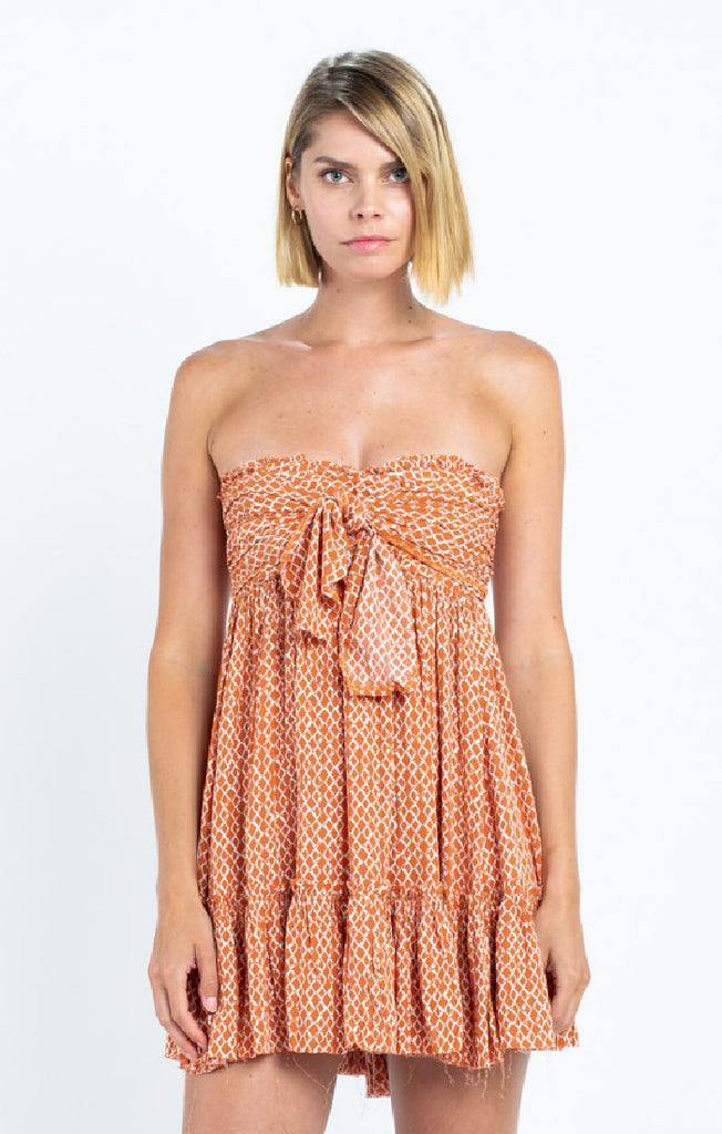 The Diamond Print Game Day Dress - Orange Rust