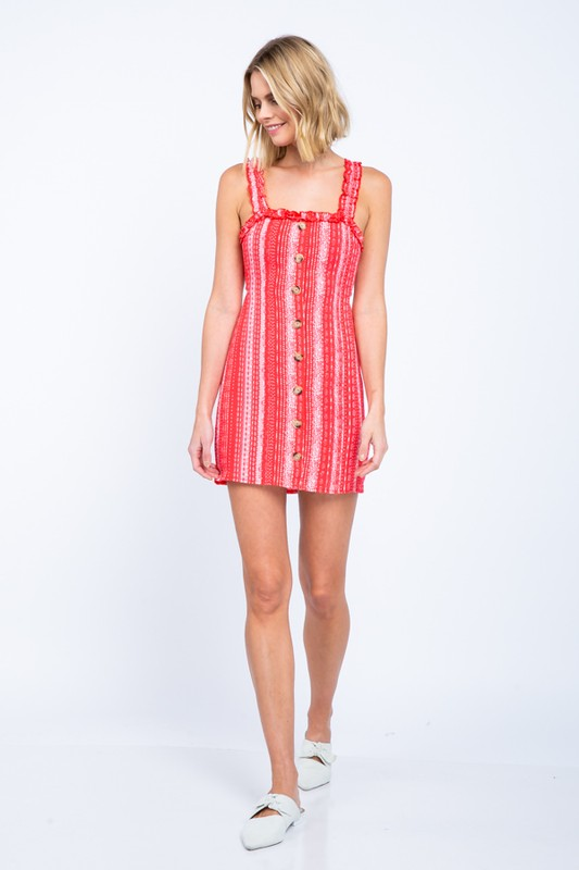 The Lia Boho Button Front Mini Dress