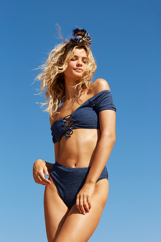 Midnight Swim Lace-Up Top - Midnight Blue
