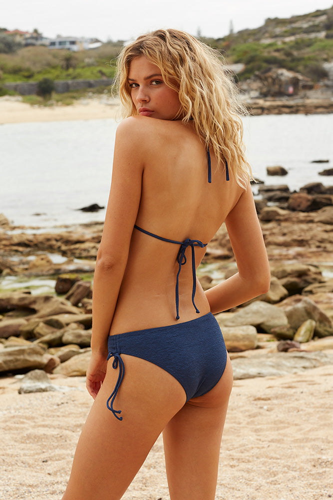Midnight Swim Tie Side Bottoms - Midnight Blue