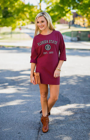 Florida State Vintage Tee Dress Game Day Dresses Game Day Couture - Bows and Arrows FSU Seminoles and UF Gators Women's Game Day Dresses and Apparel