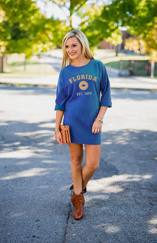 Florida Gators Vintage Tee Dress Game Day Dresses Game Day Couture - Bows and Arrows FSU Seminoles and UF Gators Women's Game Day Dresses and Apparel