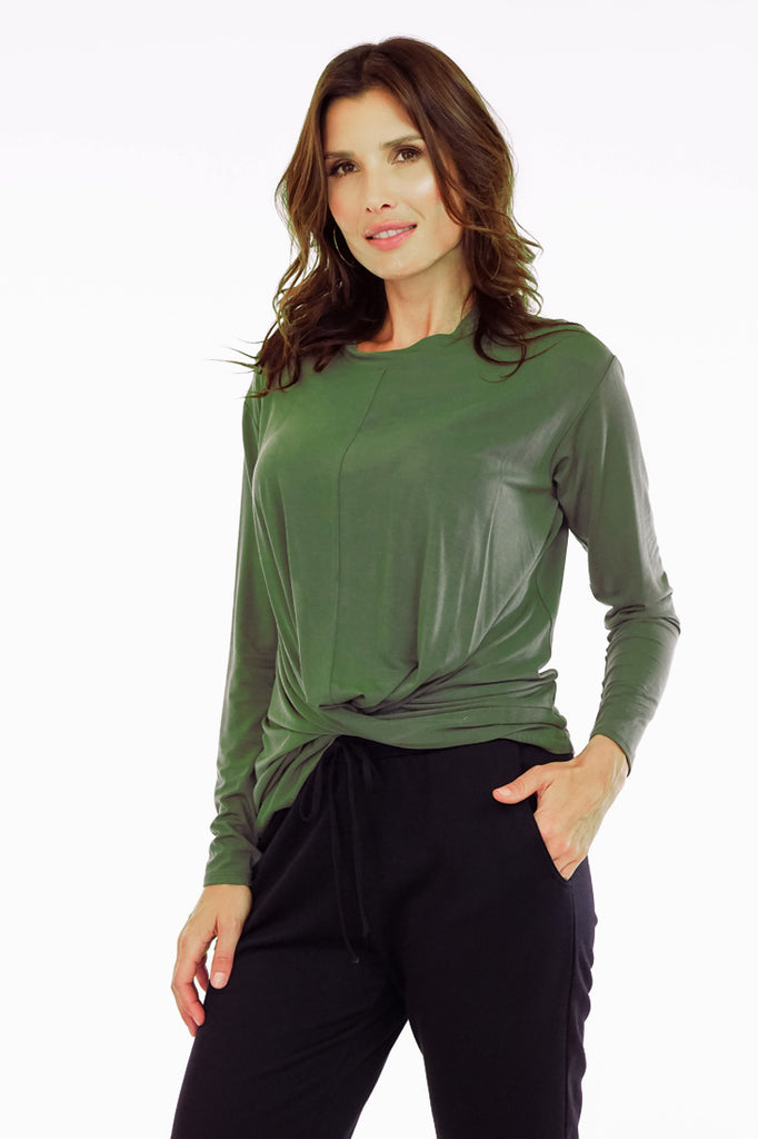 The Olive L/S Twist Front Top