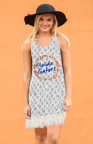 University of Florida Fringe Geo-Print Tank Dress Game Day Dresses Game Day Couture - Bows and Arrows FSU Seminoles and UF Gators Women's Game Day Dresses and Apparel