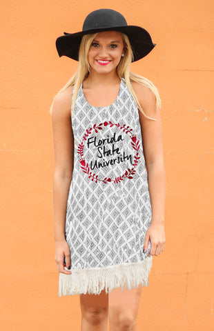Florida State Fringe Geo-Print Tank Dress Game Day Dresses Game Day Couture - Bows and Arrows FSU Seminoles and UF Gators Women's Game Day Dresses and Apparel