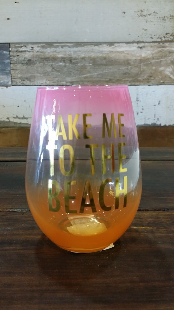 Take me to the Beach - Stemless Wine Glass Wine Glass Slant - Bows and Arrows FSU Seminoles and UF Gators Women's Game Day Dresses and Apparel