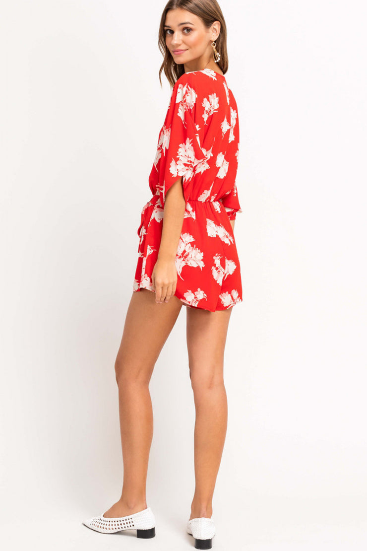 The Shores Floral Romper (Red)