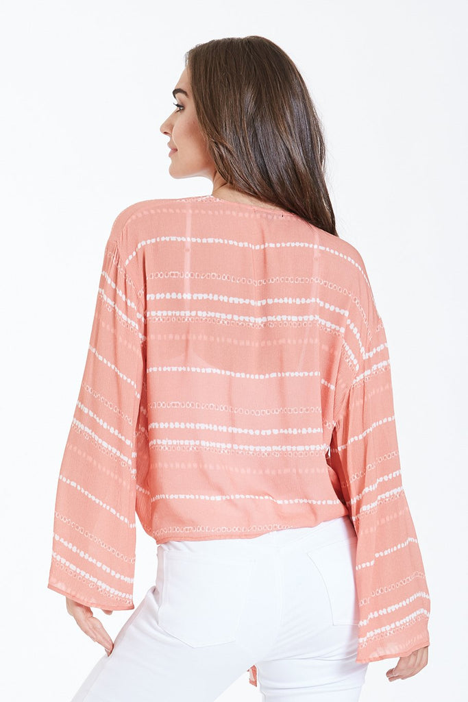 The Alice Miami Peach Tie Front Blouse
