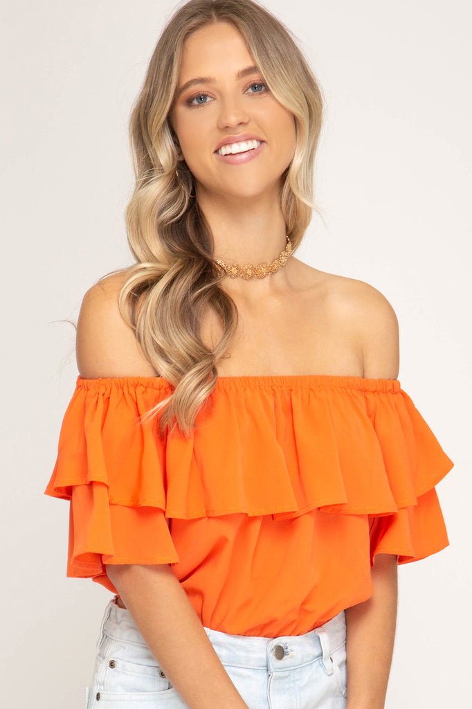 The Game Day Off the Shoulder Crop Top - Orange
