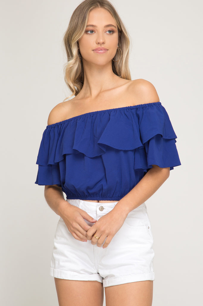 The Game Day Off the Shoulder Crop Top - Royal Blue
