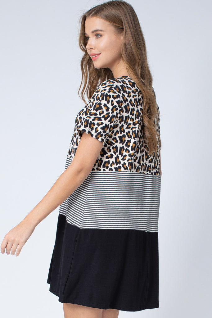 The Kristen Leopard Colorblock T-Shirt Dress
