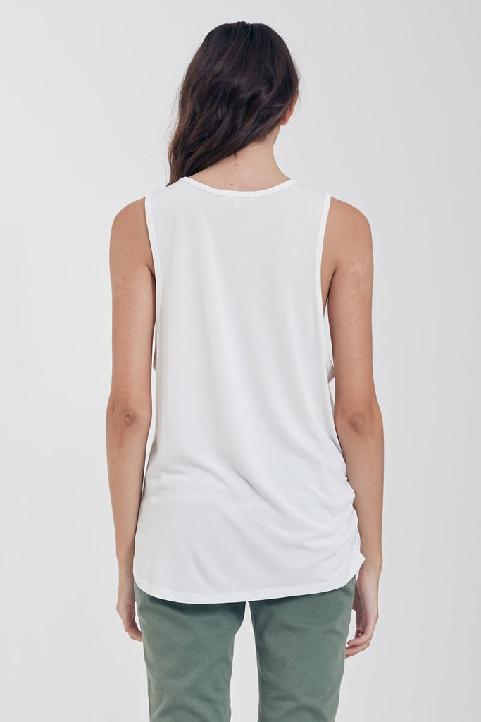The Lexi Rusched Muscle Tank (White)