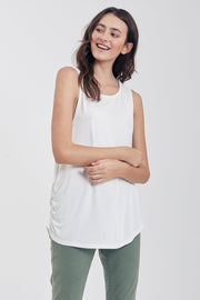 The Lexi Rusched Muscle Tank (White) (2334206885936)