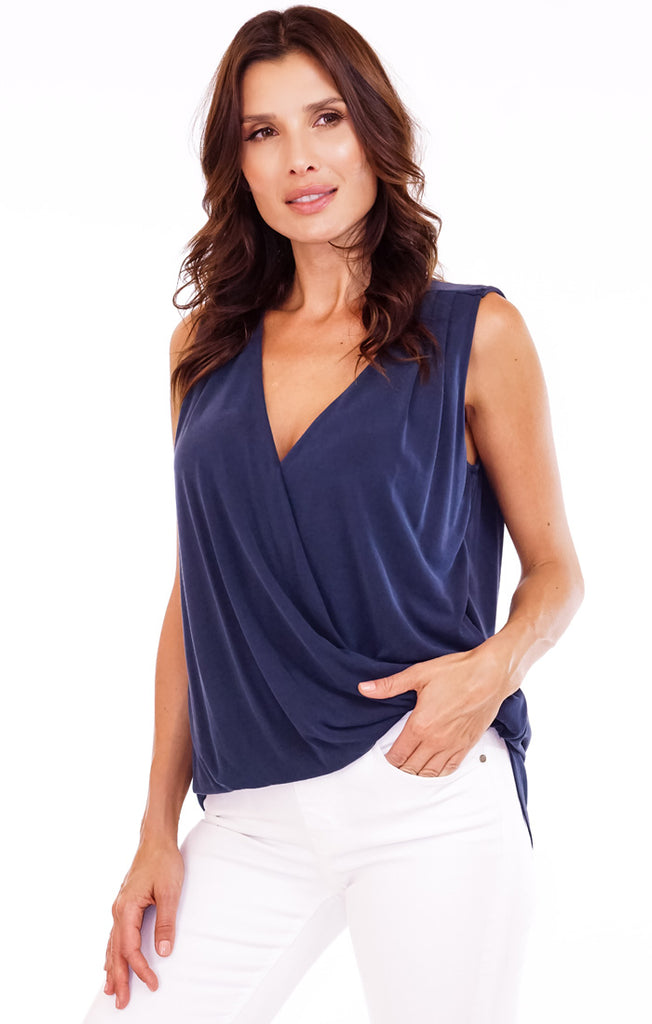 The Navy Cupro Surplice Tank