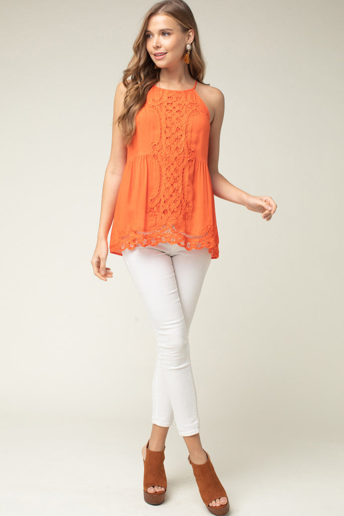 The Orange Crochet Game Day High Neck Top