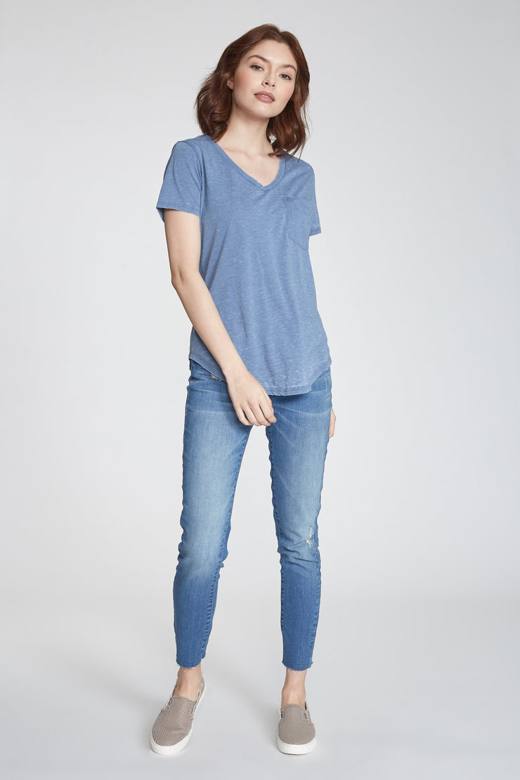 The Phoenix Burn-Out V-Neck - Moonlight Blue