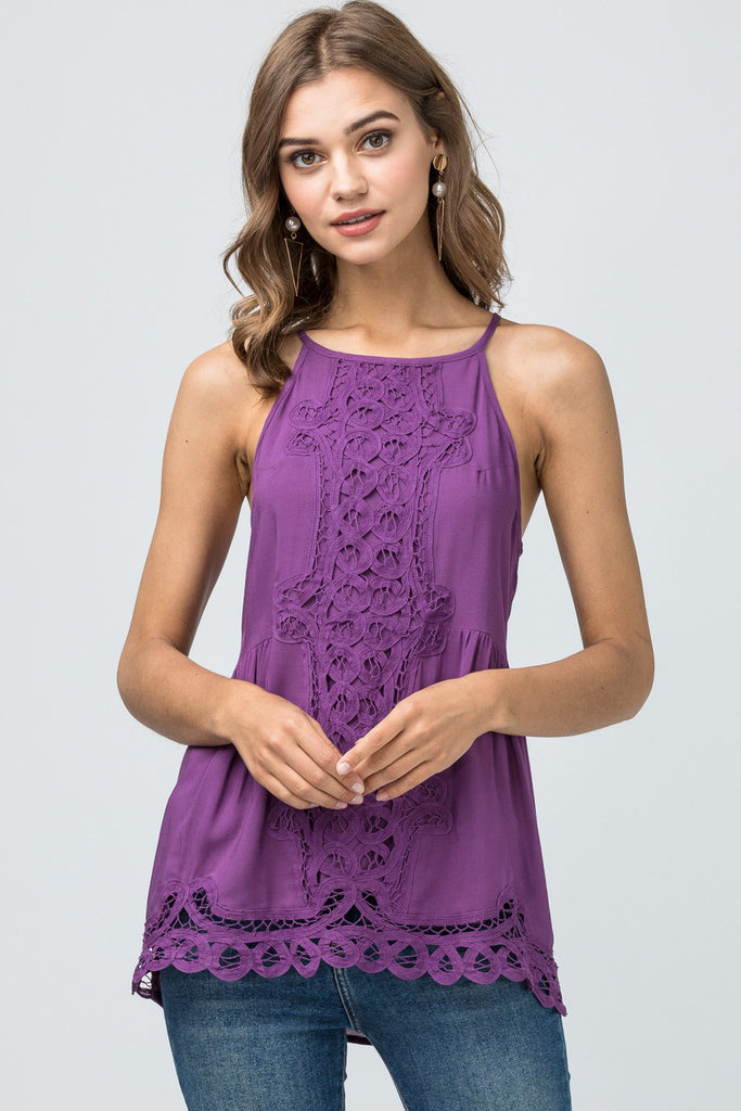 The Purple Crochet Game Day High Neck Top
