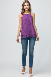 The Purple Crochet Game Day High Neck Top (3856979951664)
