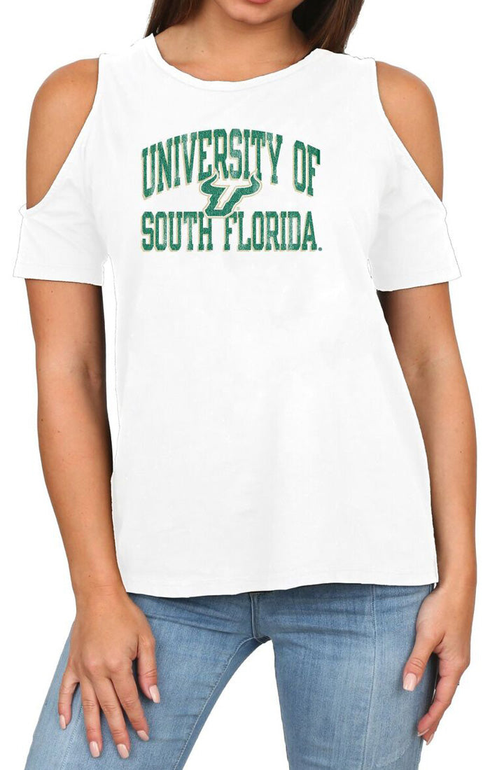 The Rachel Cold Shoulder USF Bulls Tee (586874912801)