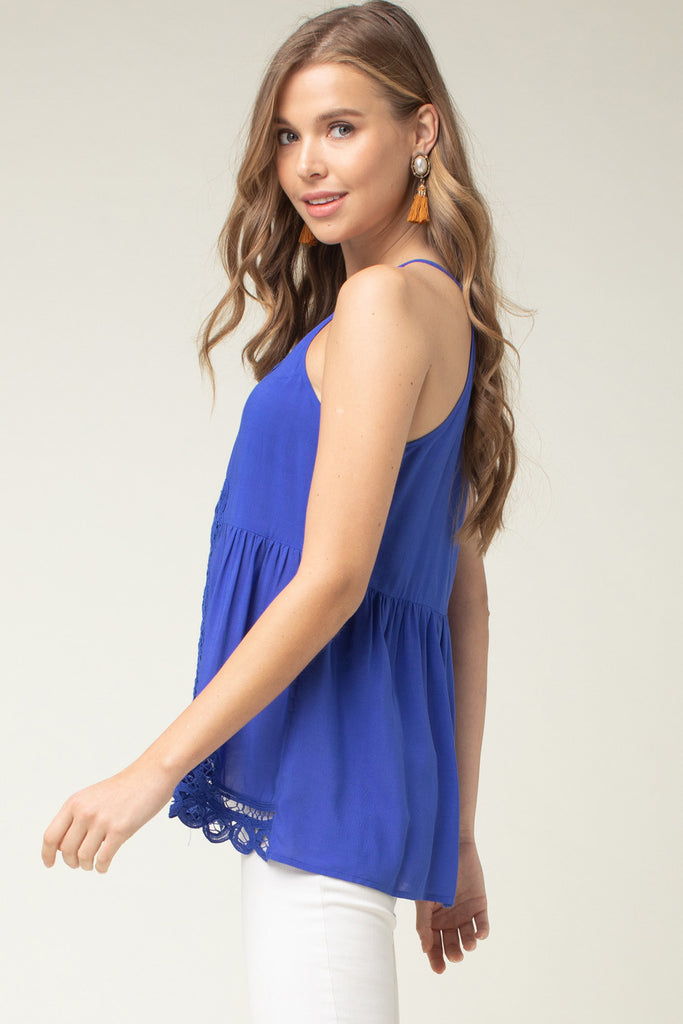 The Royal Blue Crochet Game Day High Neck Top