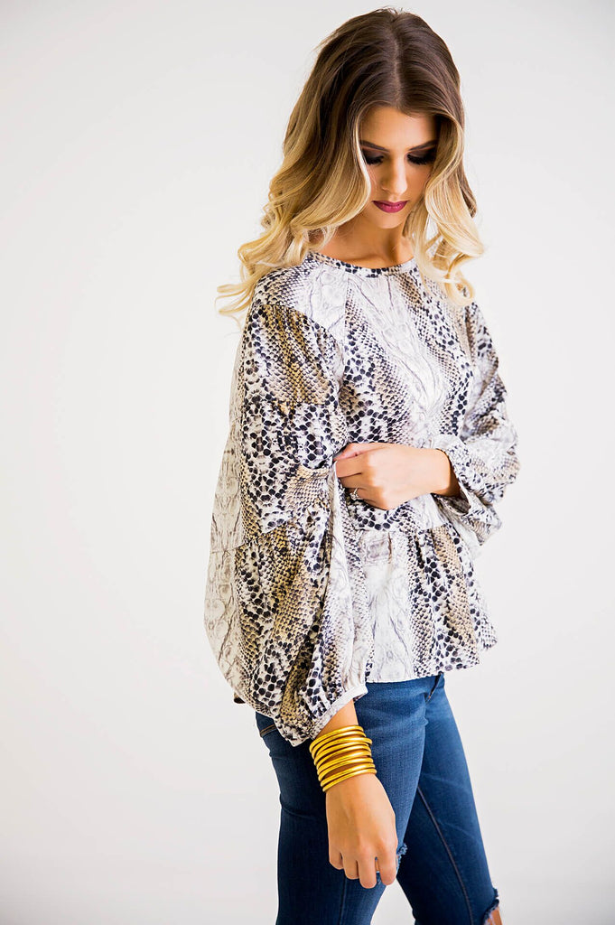 The Sarah Snake Babydoll Tiered Sleeve Blouse