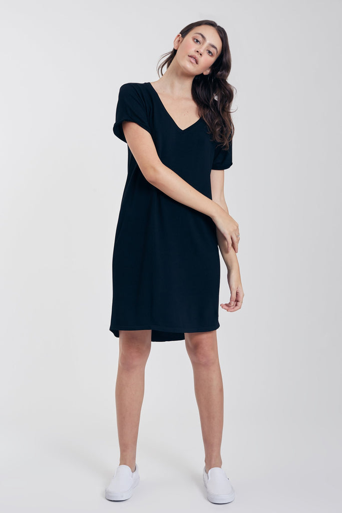 The Savannah Baby French Terry Dress (Black)