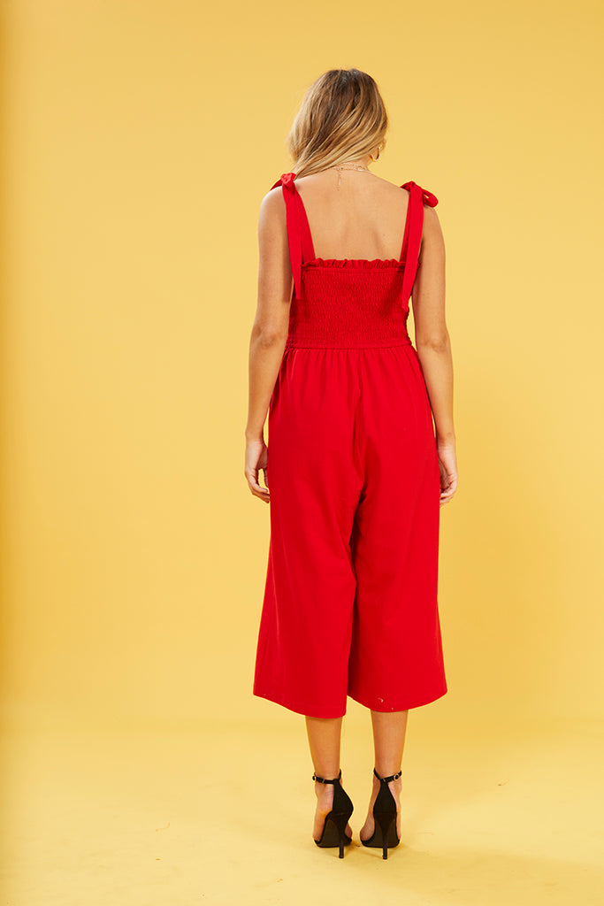 The Smocked Jumpsuit with Ties (Red)