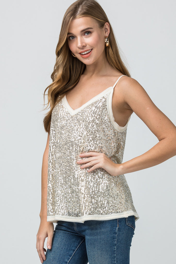 The Stella Sequin Tank - Gold