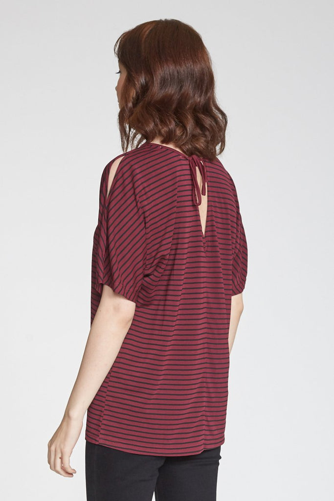 The Tori Printed Striped Crewneck - Bordeaux