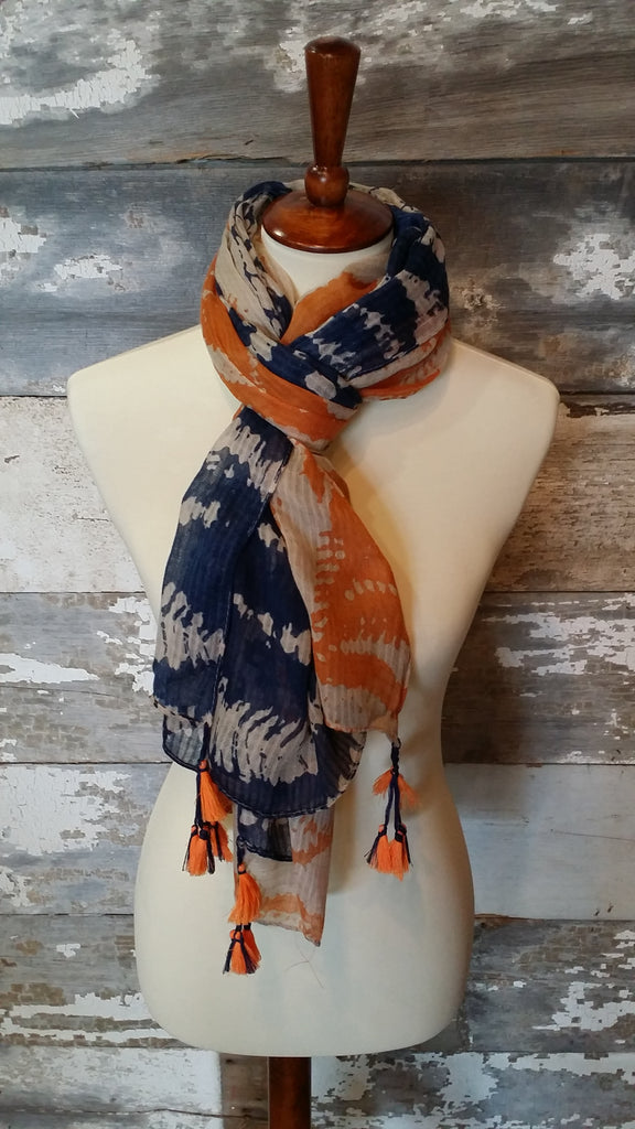 Tie Dye Orange and Blue Pom-Pom Print Scarf scarf Bows and Arrows Co LLC - Bows and Arrows FSU Seminoles and UF Gators Women's Game Day Dresses and Apparel