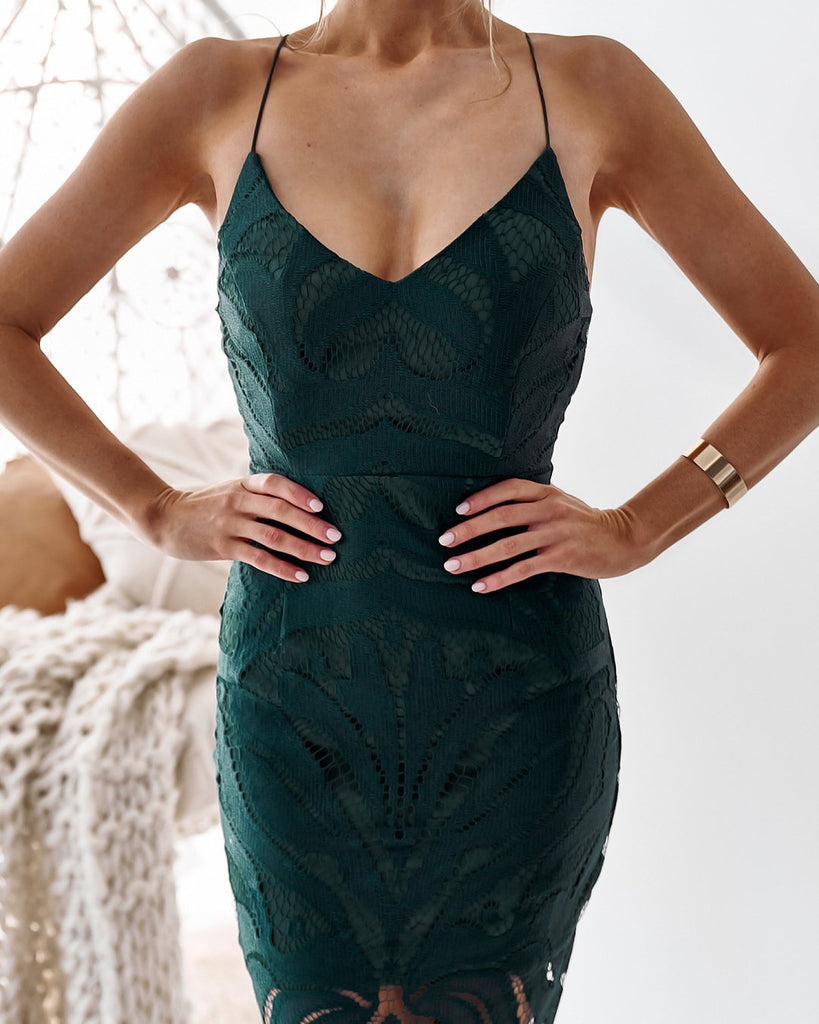 Khaleesi Dress - Hunter Green Lace