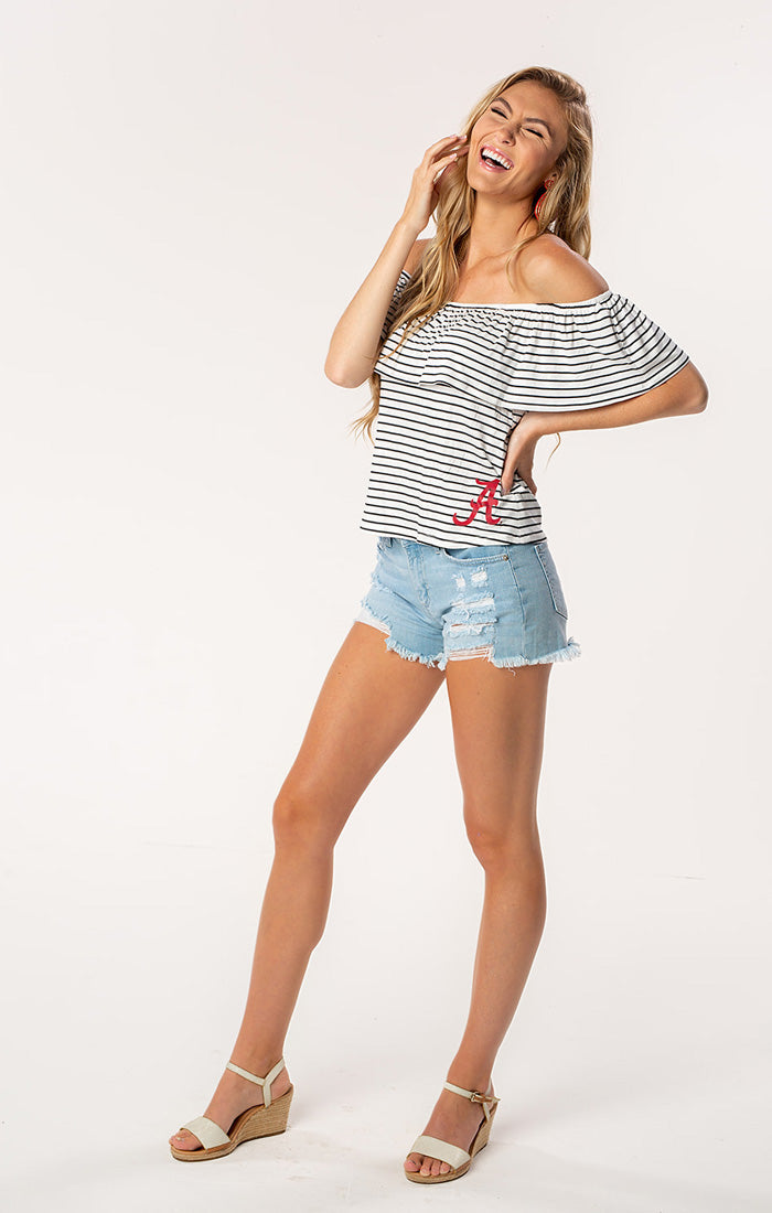 The Ryan Alabama Off Shoulder Game Day Top (1378593636400)
