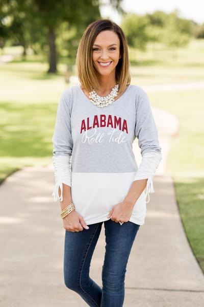 Alabama Crimson Tide Calling the Shots Color Block Top Tunic Game Day Couture - Bows and Arrows FSU Seminoles and UF Gators Women's Game Day Dresses and Apparel