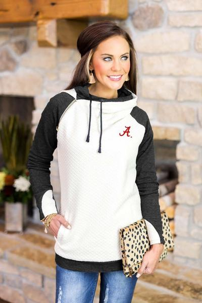 Alabama Crimson Tide Chill Layered Hood Pullover Sweater Game Day Couture - Bows and Arrows FSU Seminoles and UF Gators Women's Game Day Dresses and Apparel