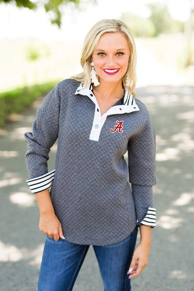 "Alabama ""Out of Your League"" Quarter Button Pullover Sweater Game Day Couture - Bows and Arrows FSU Seminoles and UF Gators Women's Game Day Dresses and Apparel"