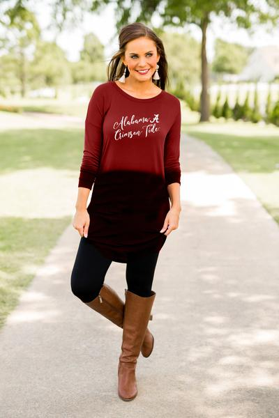 Alabama Own it in Ombre Tunic Tunic Game Day Couture - Bows and Arrows FSU Seminoles and UF Gators Women's Game Day Dresses and Apparel (1398619635760)